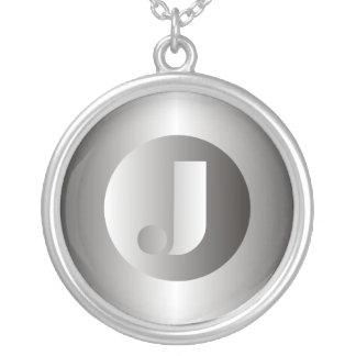 "Polished Steel ""J"" Round Pendant Necklace"