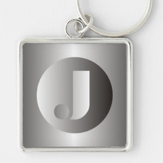 """Polished Steel """"J"""" Silver-Colored Square Keychain"""