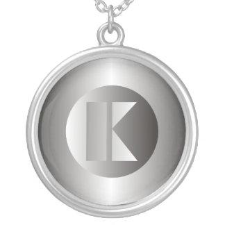 "Polished Steel ""K"" Round Pendant Necklace"