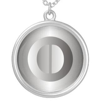 "Polished Steel ""O"" Round Pendant Necklace"