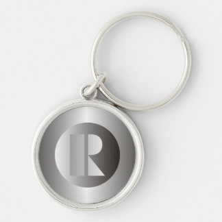 """Polished Steel """"R"""" Silver-Colored Round Keychain"""