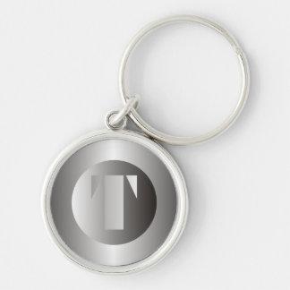 """Polished Steel """"T"""" Keychain"""