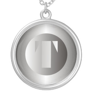 """Polished Steel """"T"""" Round Pendant Necklace"""