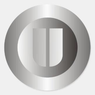 "Polished Steel ""U"" Classic Round Sticker"