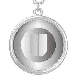 """Polished Steel """"U"""" Round Pendant Necklace"""