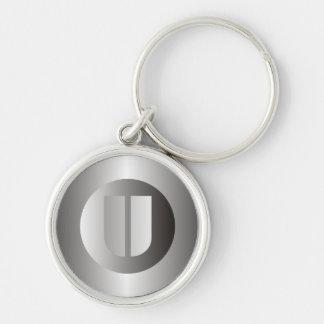 "Polished Steel ""U"" Silver-Colored Round Keychain"