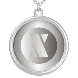 """Polished Steel """"X"""" Silver Plated Necklace"""