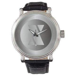 """Polished Steel """"X"""" Wristwatch"""