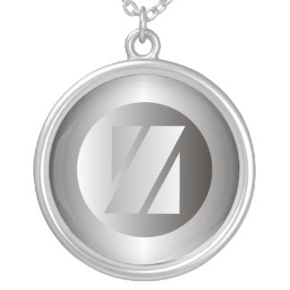 """Polished Steel """"Z"""" Silver Plated Necklace"""