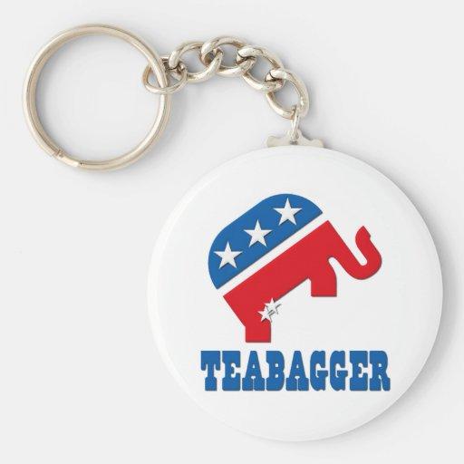Política de fiesta del té republicana de Teabagger Llavero Personalizado