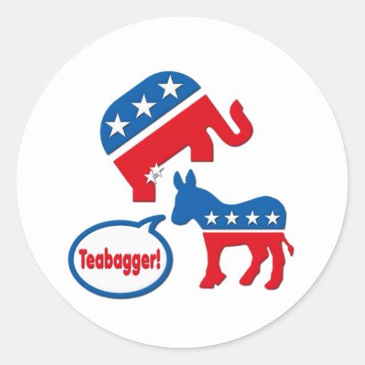 Política de fiesta del té republicana de Teabagger Pegatina Redonda