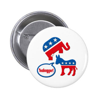 Política de fiesta del té republicana de Teabagger Pin Redondo De 2 Pulgadas