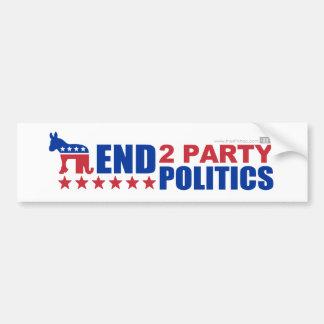 Política de partidos del final dos pegatina de parachoque