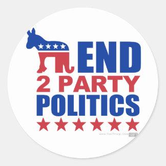 Política de partidos del final dos pegatina redonda