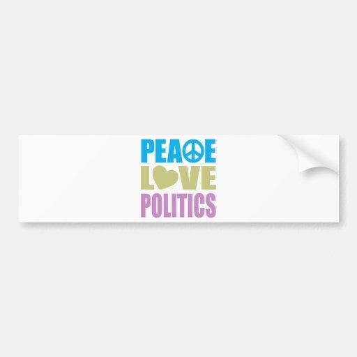 Política del amor de la paz pegatina para auto