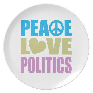 Política del amor de la paz platos