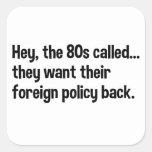 Política exterior de Obama 80s Calcomanía Cuadradas