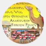 Política exterior vil pegatina redonda