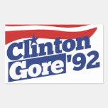 Política retra de Clinton Gore 92 Pegatinas