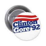 Política retra de Clinton Gore 92 Pins
