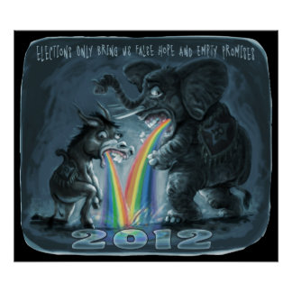 Political Animals Puking Rainbows Poster