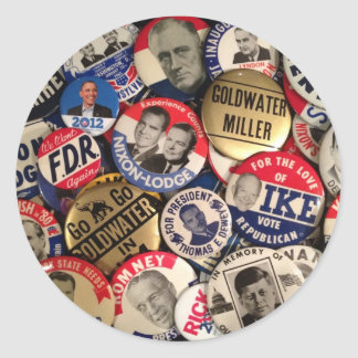 Political Buttons Round Stickers