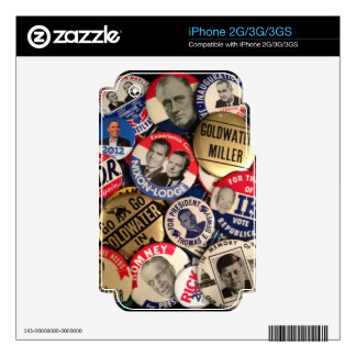 Political Buttons Skin For iPhone 3G