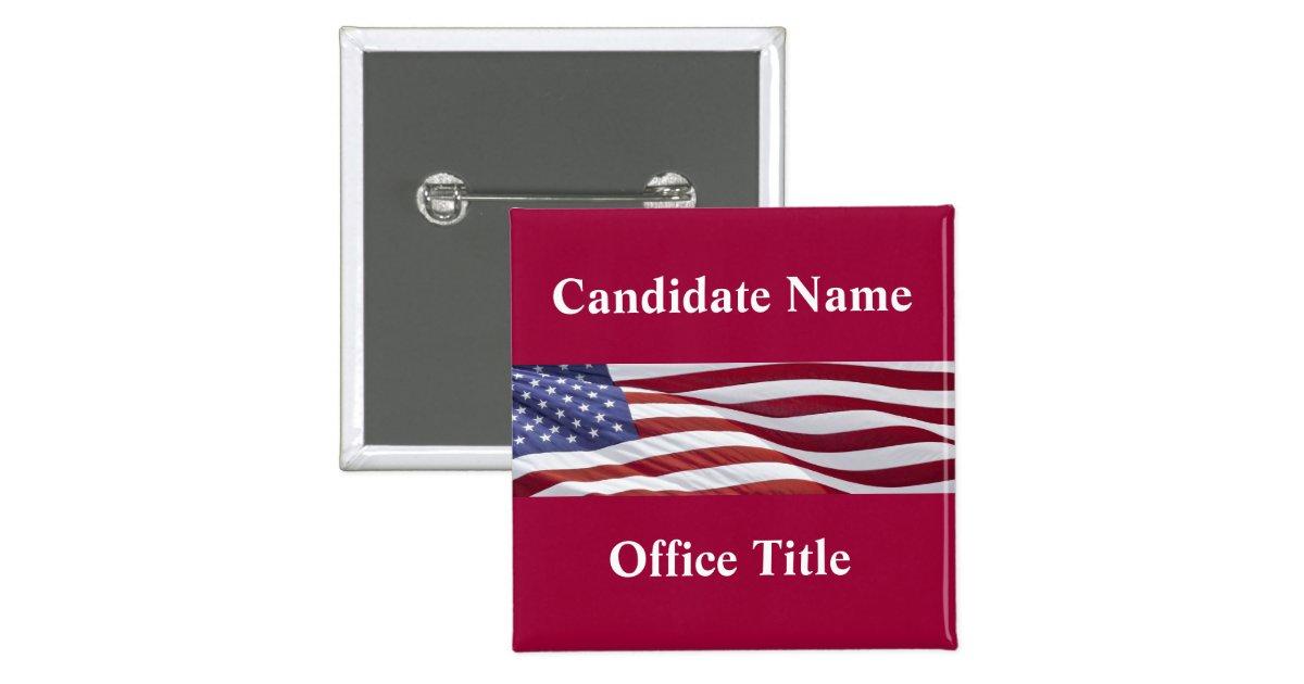 political campaign button template zazzle. Black Bedroom Furniture Sets. Home Design Ideas