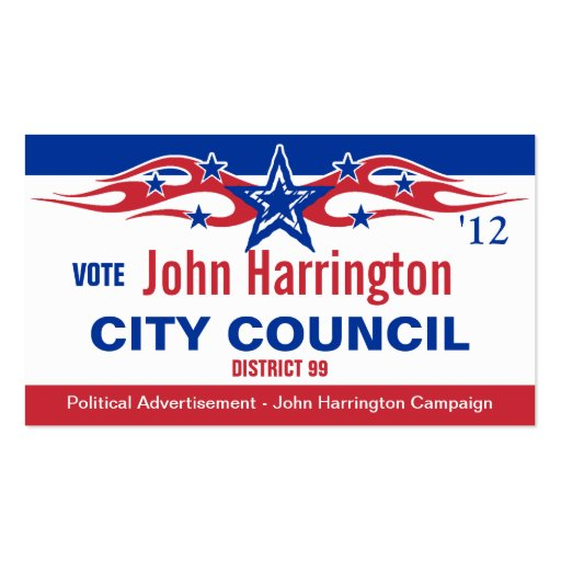 Political Campaign Card - City Council Business Card Template