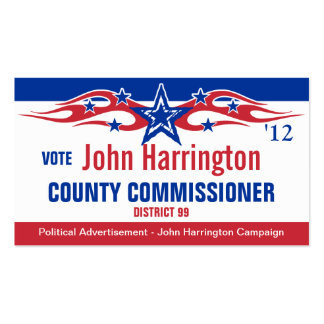 Political Campaign Card - County Commissioner Double-Sided Standard Business Cards (Pack Of 100)