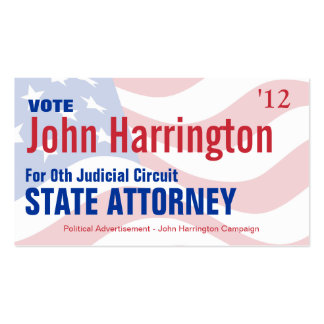 Political Campaign Card - State Attorney Business Cards