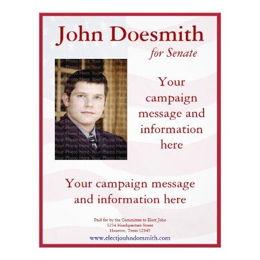 political campaign flyer template zazzle. Black Bedroom Furniture Sets. Home Design Ideas