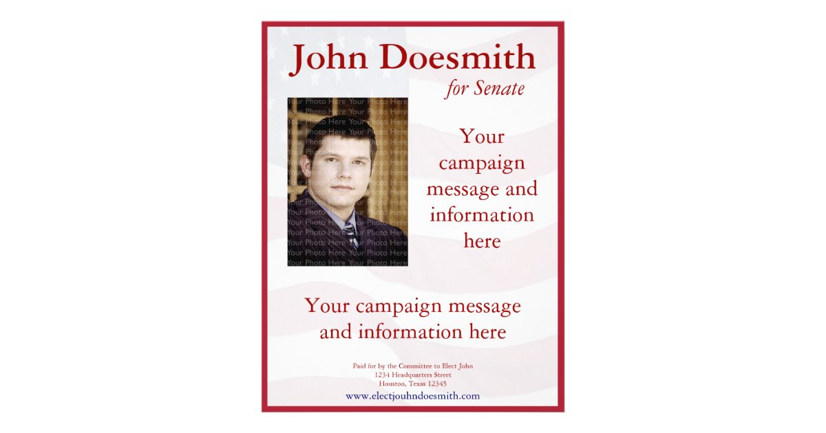 Political Campaign Flyer Template Zazzle