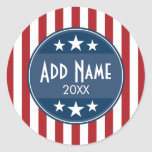 Political Campaign - Patriotic Stars and Stripes Classic Round Sticker