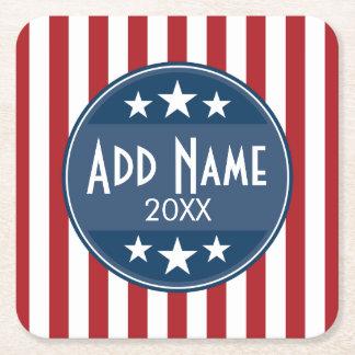 Political Campaign - Patriotic Stars and Stripes Square Paper Coaster
