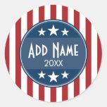 Political Campaign - Patriotic Stars and Stripes Classic Round Sticker