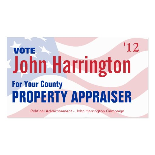Political Campaign - Property Appraiser Business Business Cards