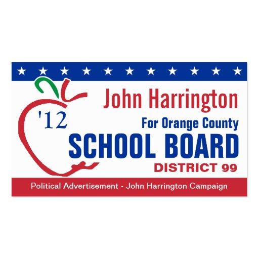 Political Campaign - School Board Business Card