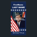 """Political Campaign Template Rack Card<br><div class=""""desc"""">A patriotic red,  white and blue stars and strip rack card.</div>"""