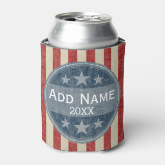 Political Campaign - vintage stars and stripes Can Cooler