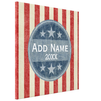 Political Campaign - vintage stars and stripes Canvas Print