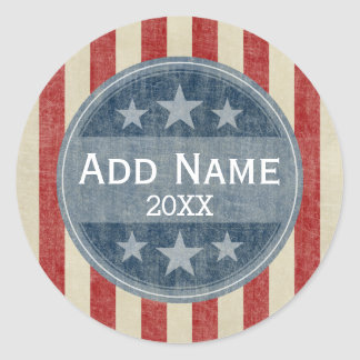 Political Campaign - vintage stars and stripes Classic Round Sticker