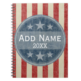 Political Campaign - vintage stars and stripes Spiral Note Book