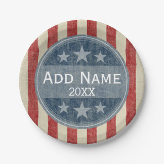 Political Campaign - vintage stars and stripes Paper Plate