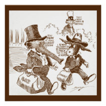 Political Cartoon USA  c. 1920 Elephant &  Donkey Poster