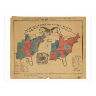 Political Chart of the United States (1840) Postcard