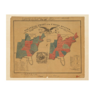 Political Chart of the United States (1840) Wood Wall Decor