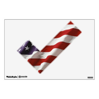 Political Check Mark American Flag Wall Sticker