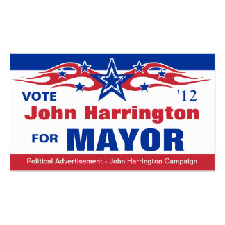 Political Election Campaign Card - Mayor Double-Sided Standard Business Cards (Pack Of 100)