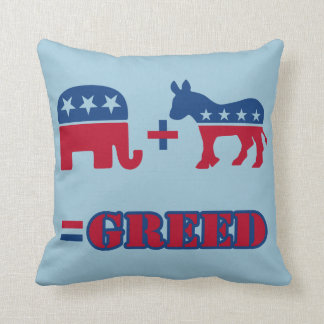 Political Greed Throw Pillow
